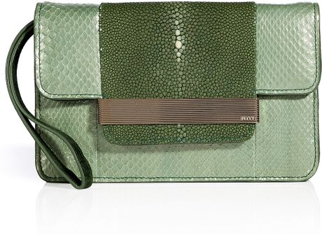 Emilio Pucci Tonal Sage Snakeskinstingray Clutch in Green (sage) - Lyst