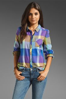 C&c California Color Block Plaid Roll Sleeve Pocket Shirt - Lyst