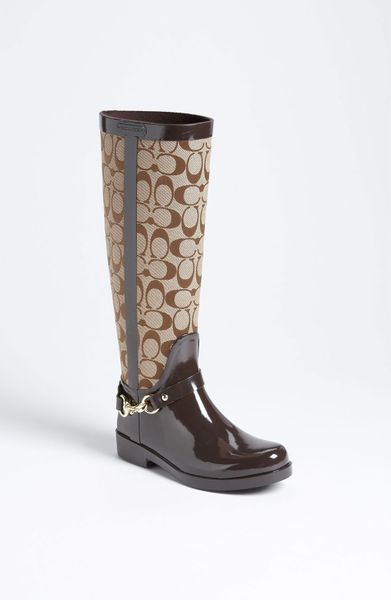 Coach Lux Rain Boot Women In Brown Khaki Chestnut Lyst