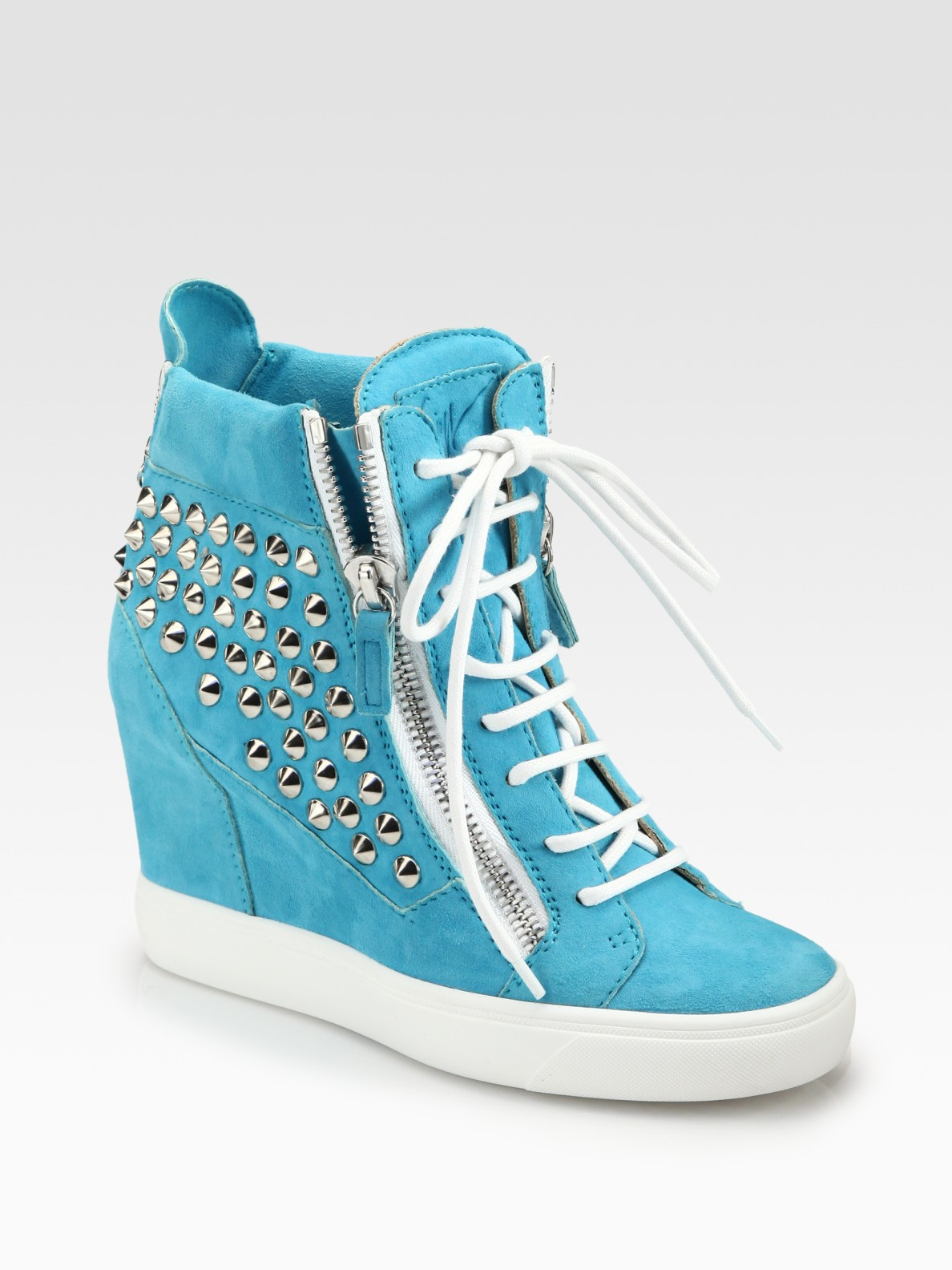 Giuseppe Zanotti Spike Suede Wedge Sneakers In Blue Lyst