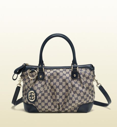 Gucci Sukey Original GG Canvas Top Handle Bag in Blue (beige)