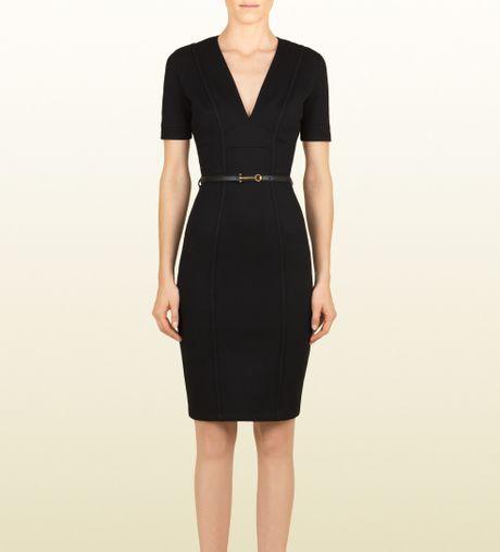 gucci belted v neck shift dress in black lyst
