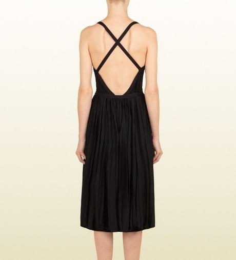 Gucci Black Light Jersey V Neck Dress In Black Lyst