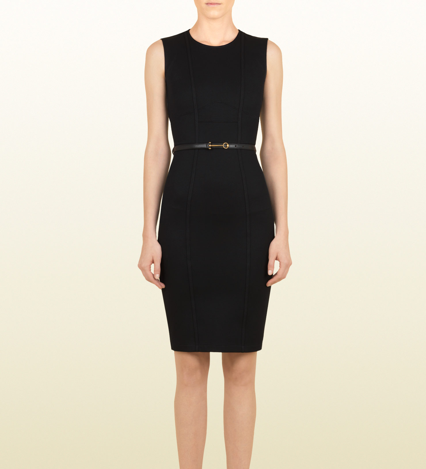 gucci black shift dress with leather belt in black lyst