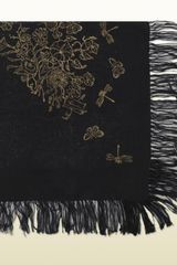 Gucci Black with Gold Block Print Light Shawl - Lyst
