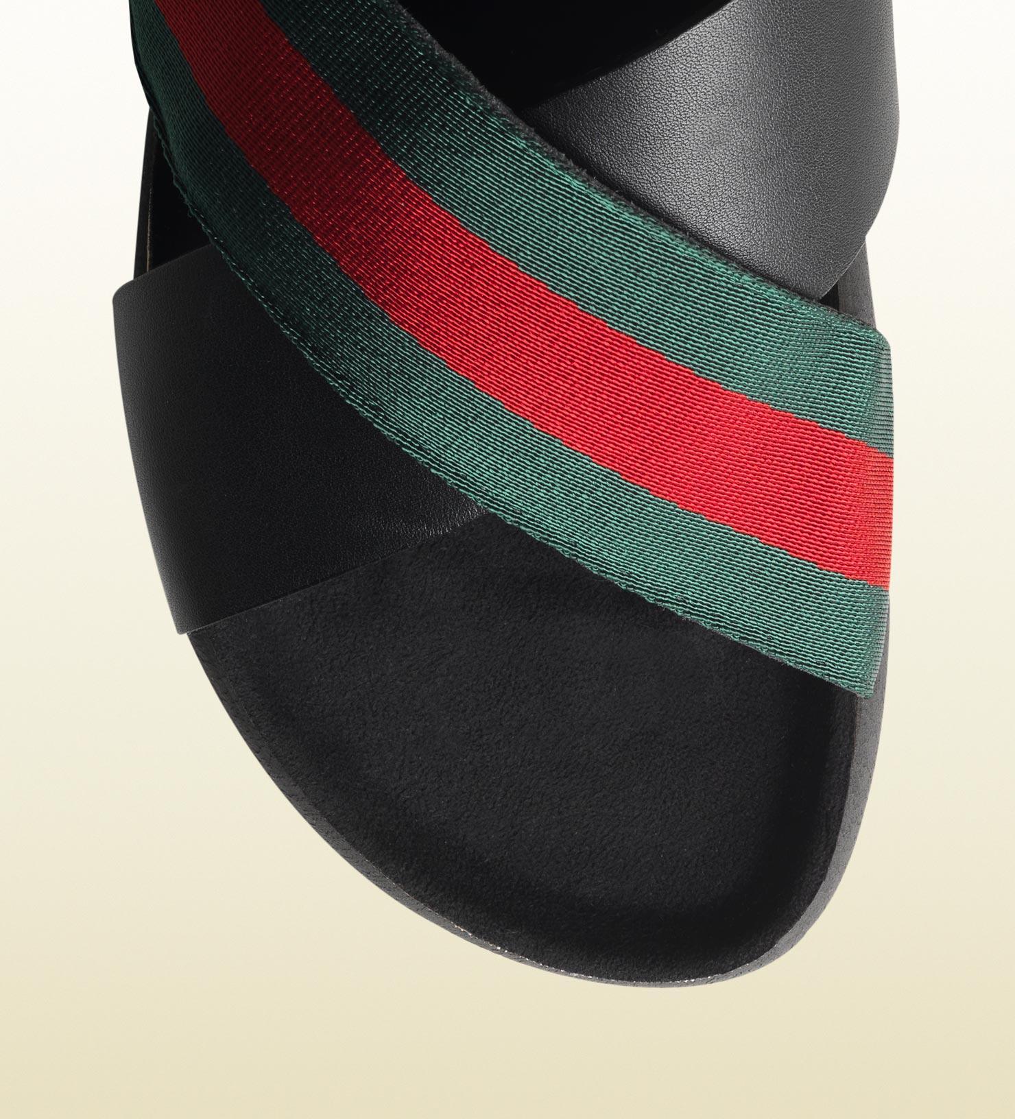 Gucci Signature Web Slide Sandal in Black for Men