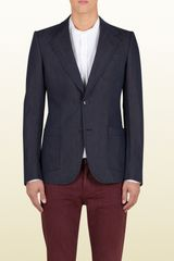 Gucci Blue Linen Cotton Denim Effect Heritage Jacket - Lyst