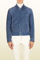 Gucci Blue Soft Velvet Suede Jacket - Lyst