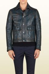 Gucci Blue Vintagestyle Leather Jacket - Lyst
