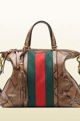 Gucci Rania Python Top Handle Bag - Lyst