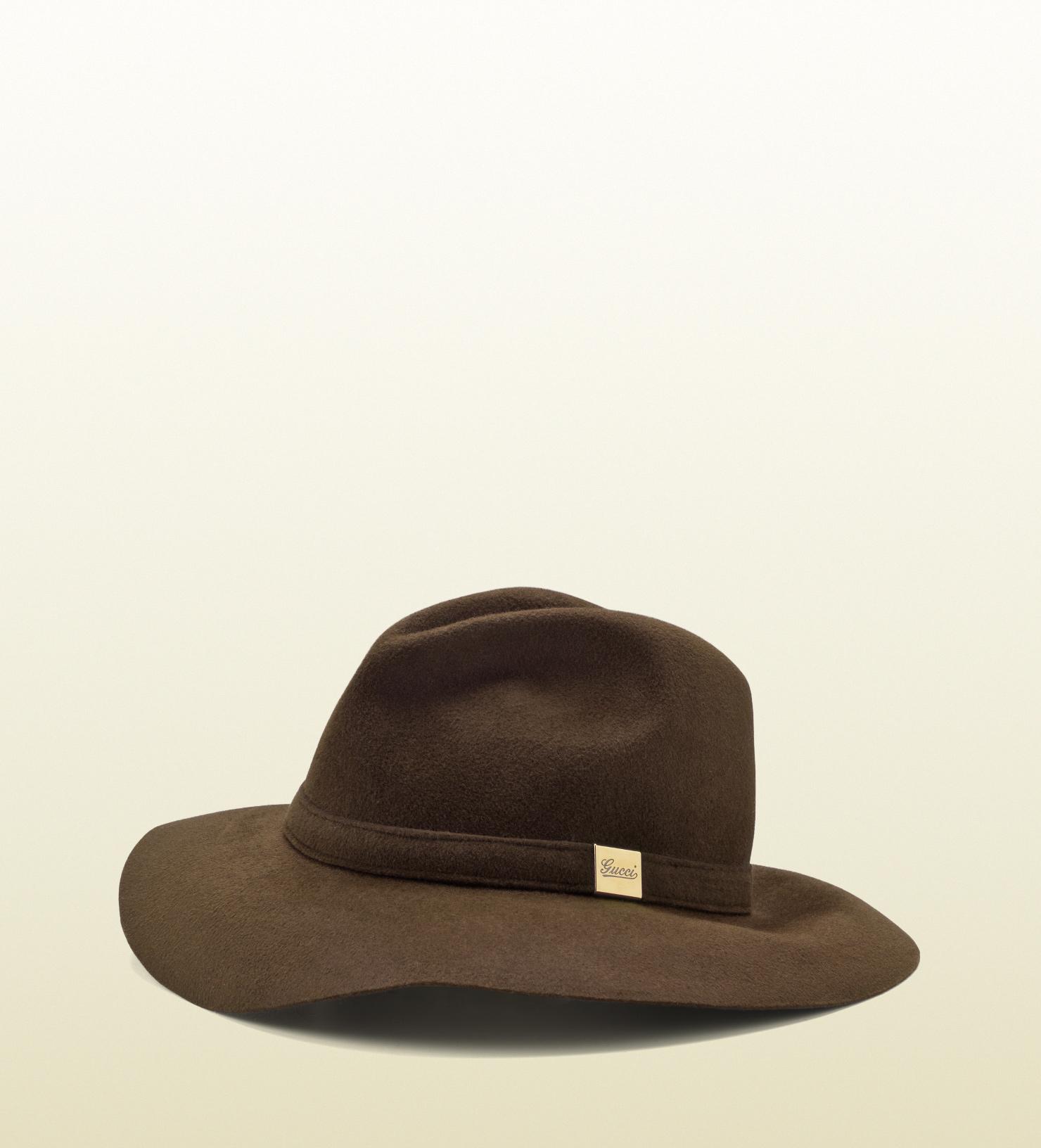 ffb3b2b85c6 Lyst - Gucci Trilby Hat with Engraved Gucci Script Logo in Brown