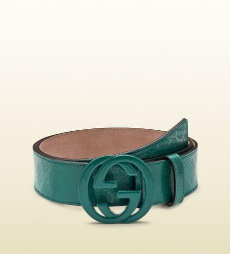 gucci dark green gg imprime233 belt with interlocking g