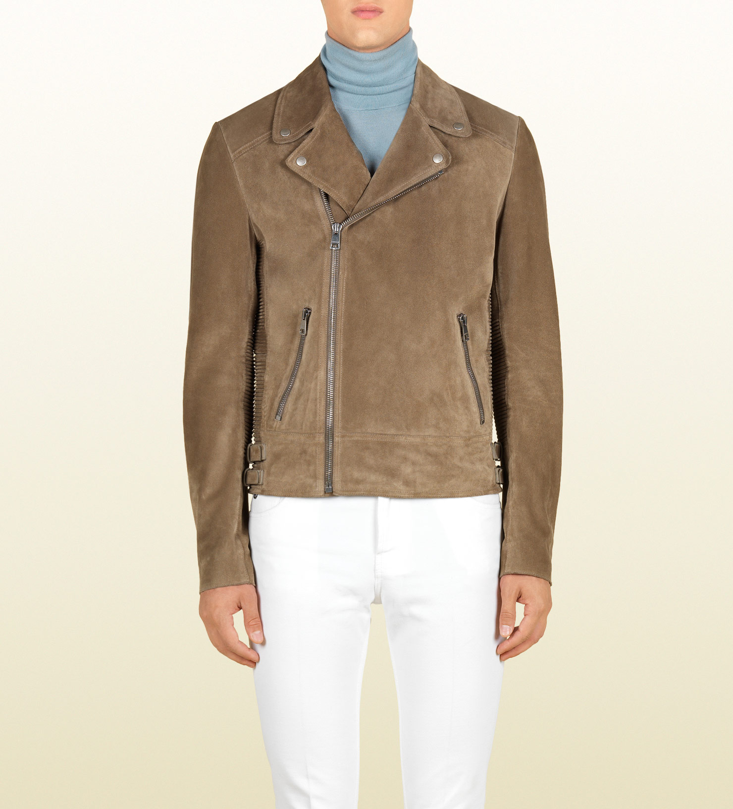 81280ea2aae5 Lyst - Gucci Suede Jacket in Natural for Men