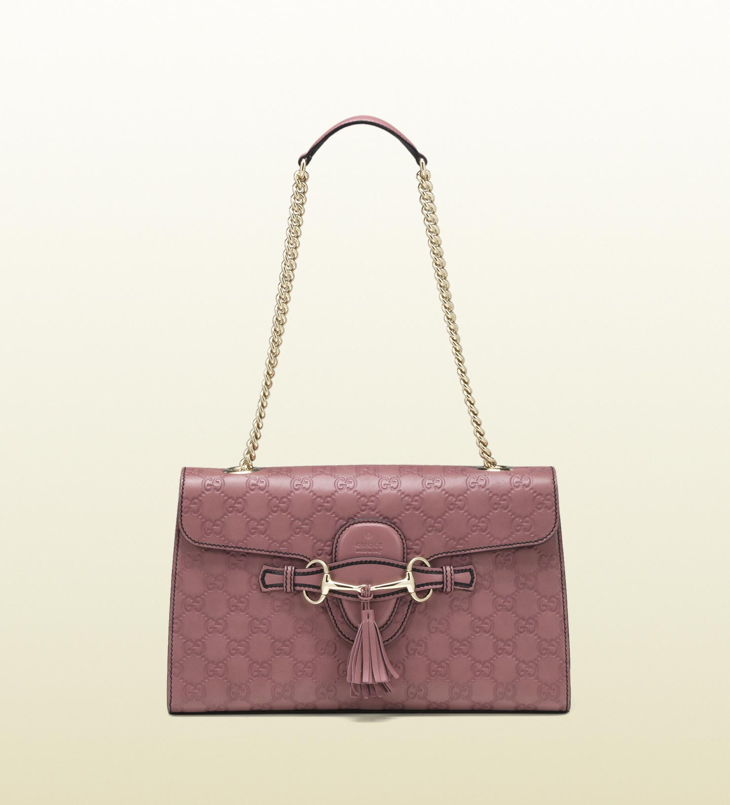 77ab9212b4a Lyst - Gucci Emily Dark Pink Guccissima Chain Shoulder Bag in Pink