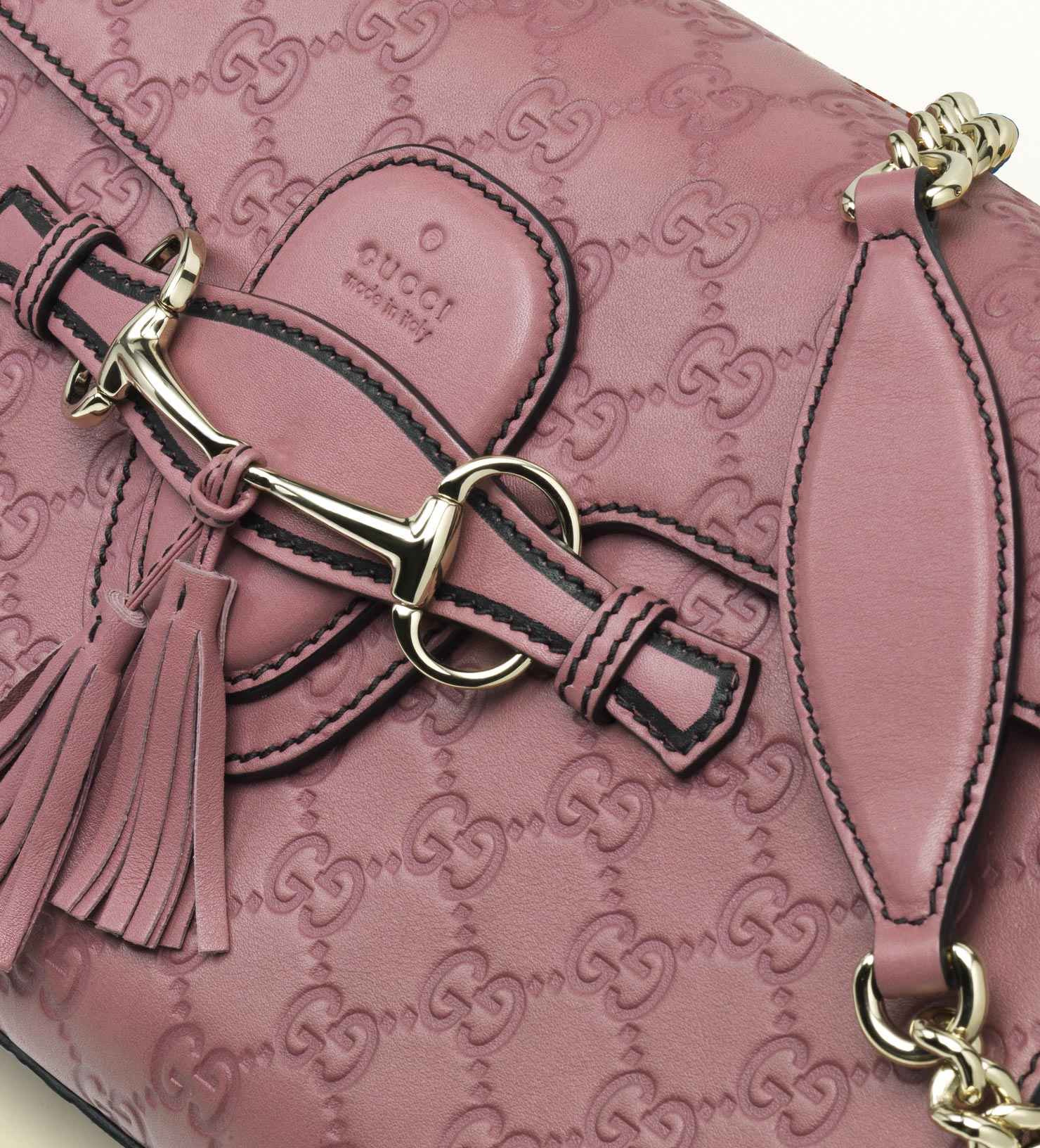 01142f4f8 Gucci Emily Dark Pink Guccissima Chain Shoulder Bag in Pink - Lyst