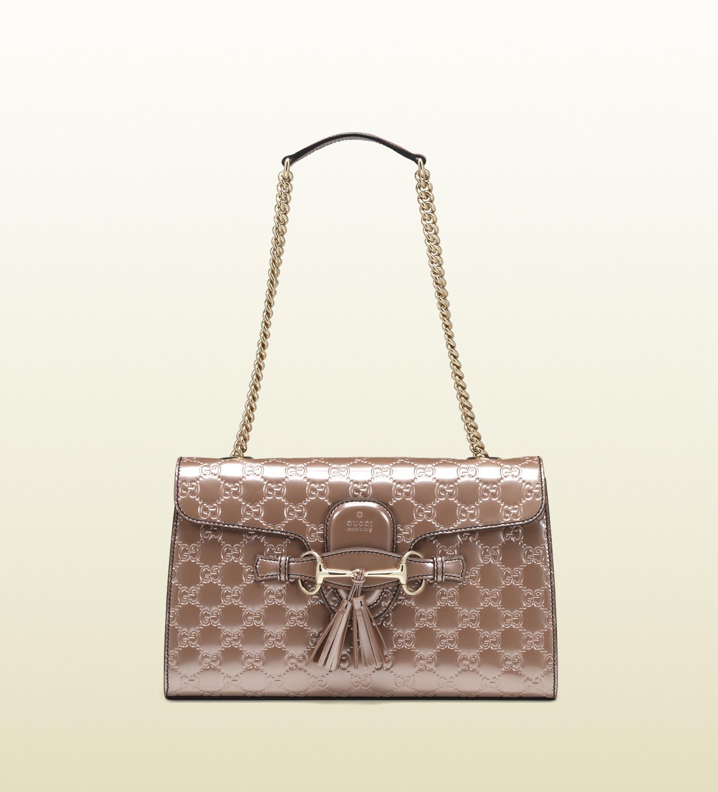 8cf558dc9e4e Gucci Emily Light Pink Shiny Microguccissima Chain Shoulder Bag in ...