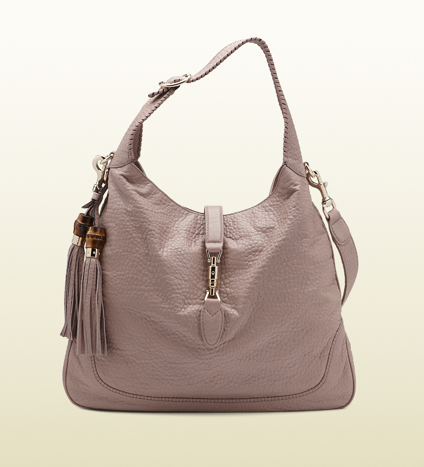 Gucci New Jackie Light Pink Grainy Leather Shoulder Bag in ...
