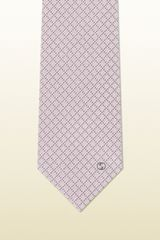 Gucci Pink and Medium Grey Classic Pattern Silk Tie - Lyst