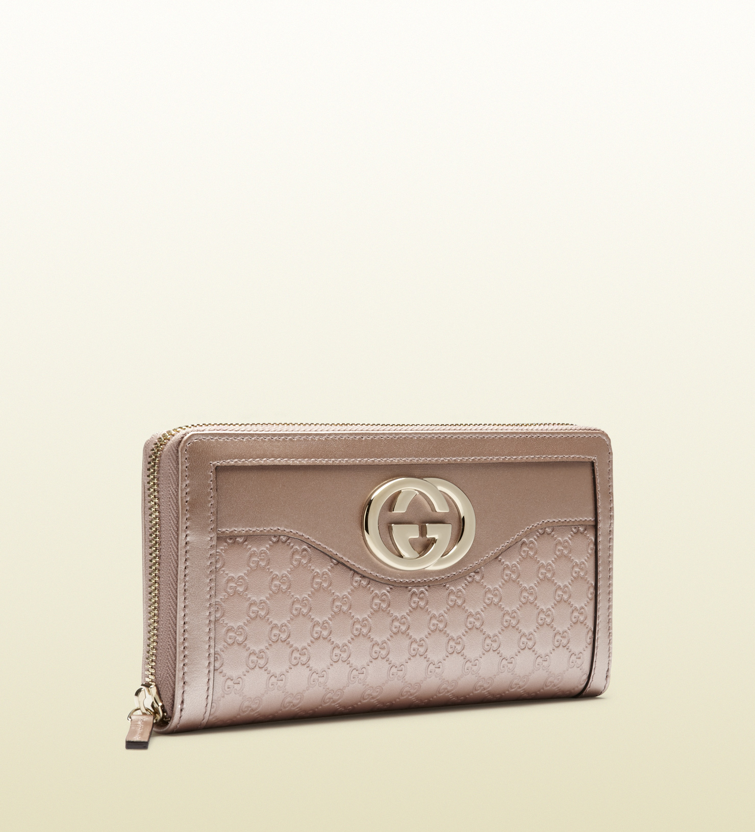 3a6d867ed1d Lyst - Gucci Sukey Light Pink Microguccissima Leather Zip Around ...