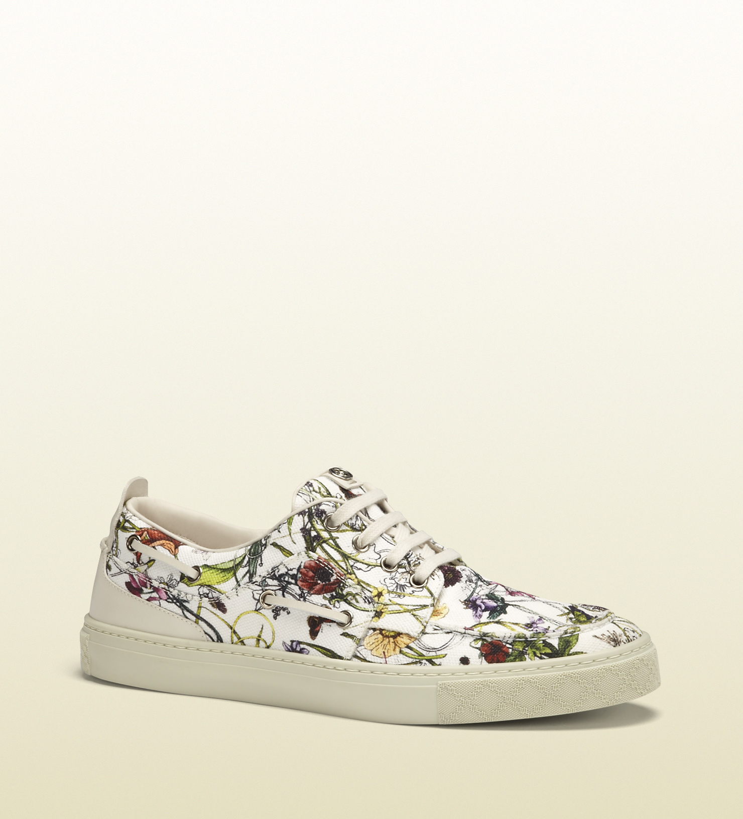 558d3430f61 Lyst - Gucci Infinity Canvas Flora Sneaker in White for Men