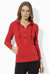 Ralph Lauren Lauren Long Sleeved Thermal Cotton Snap Hoodie - Lyst