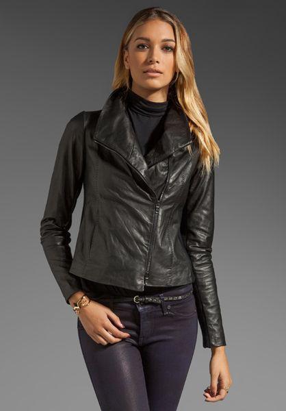 Vince Vintage Leather Scuba Jacket In Black Lyst