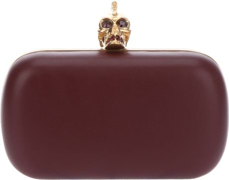Alexander Mcqueen Skull Clutch in Red - Lyst