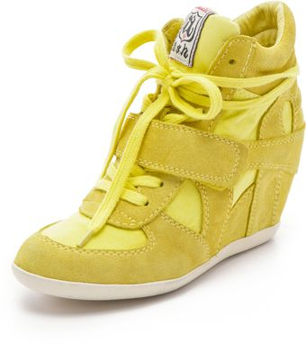 Ash Bowie Suede Wedge Sneakers with Canvas Insets - Lyst