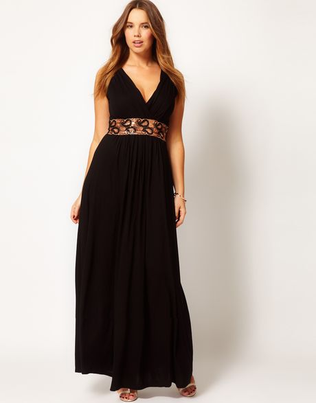 Asos Curve Maxi Dress With Embellished Waist In Black Lyst