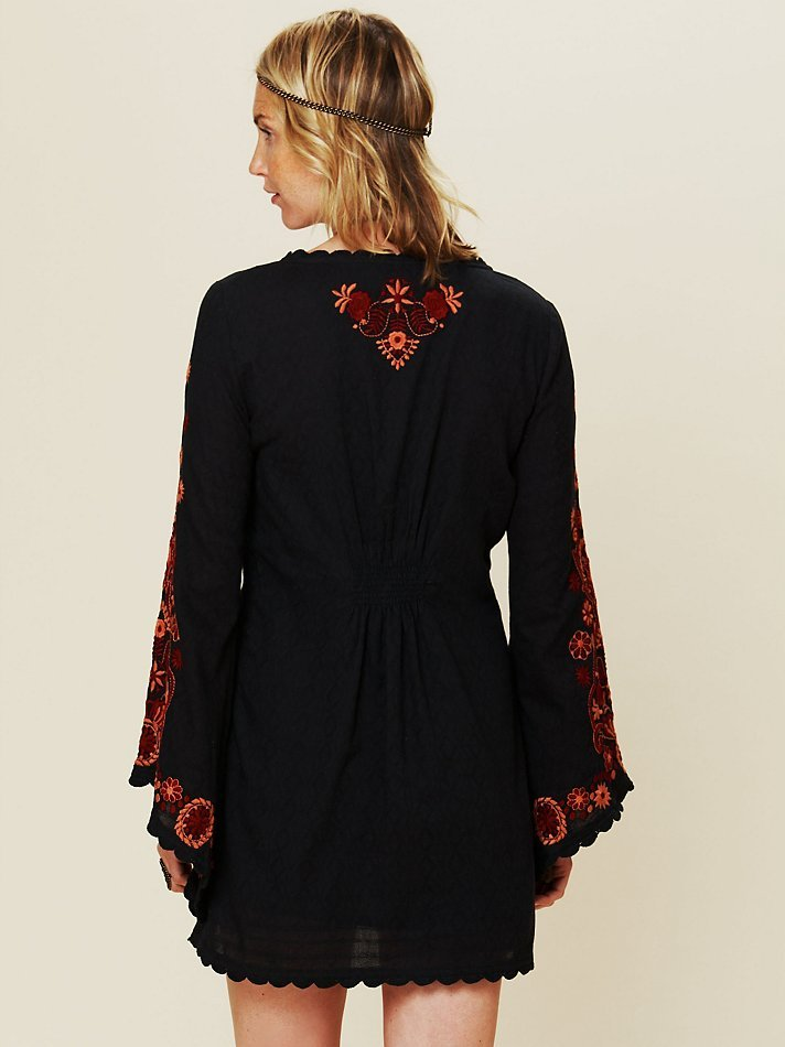 Lyst Free People Long Sleeve Embroidered Dress In Black