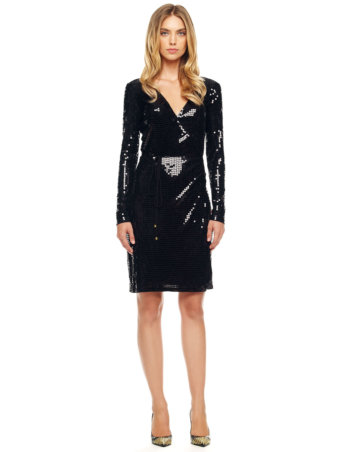 Michael kors Sequined Wrap Dress in Black