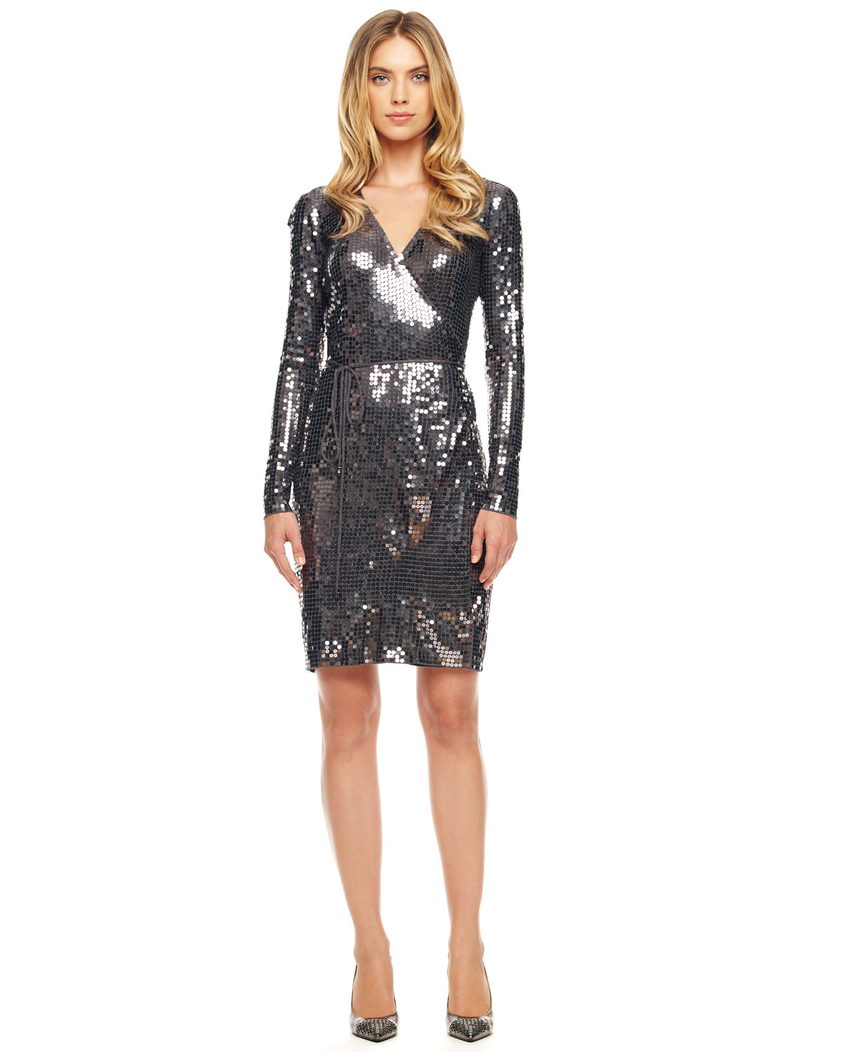 Michael Kors Sequined Wrap Dress In Black Lyst