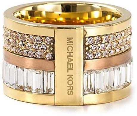 michael kors barrel ring in gold two tone lyst. Black Bedroom Furniture Sets. Home Design Ideas