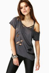 Nasty Gal Destroyed Tee Gray - Lyst