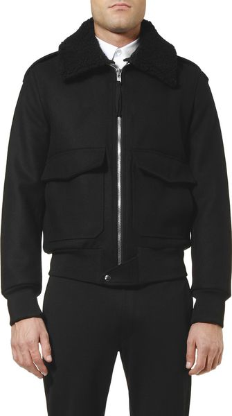 Sandro Shearling Trimmed Wool Bomber Jacket In Black For