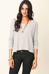 Splendid Thermal Long Sleeve Crew Neck Top - Lyst
