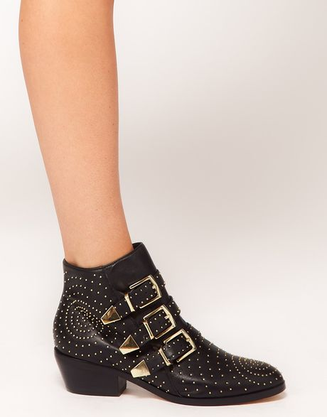 391829e4d Steve Madden Madhouse Stud Strap Ankle Boots in Black | Lyst