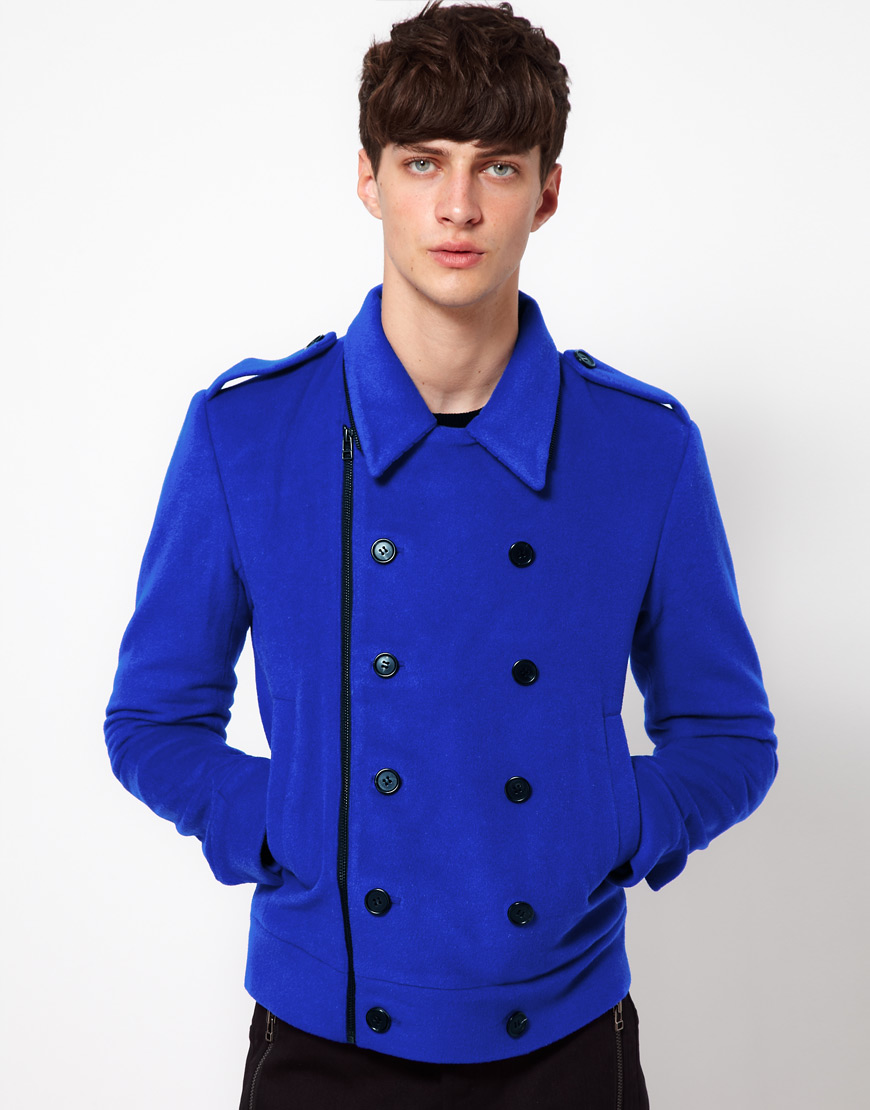 Unconditional Pea Coat in Blue for Men | Lyst