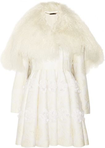 Alexander McQueen Shearling and Floral Appliqué Brocade Coat - Lyst