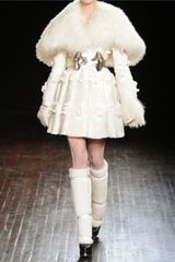 Alexander Mcqueen Shearling and Floral Appliqué Brocade Coat in White - Lyst