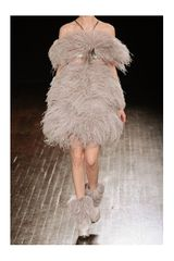 Alexander Mcqueen Offtheshoulder Feather Dress in Gray - Lyst