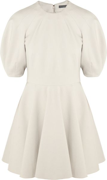 Alexander Mcqueen Woolblend Stretchjersey Dress in White (gray) - Lyst