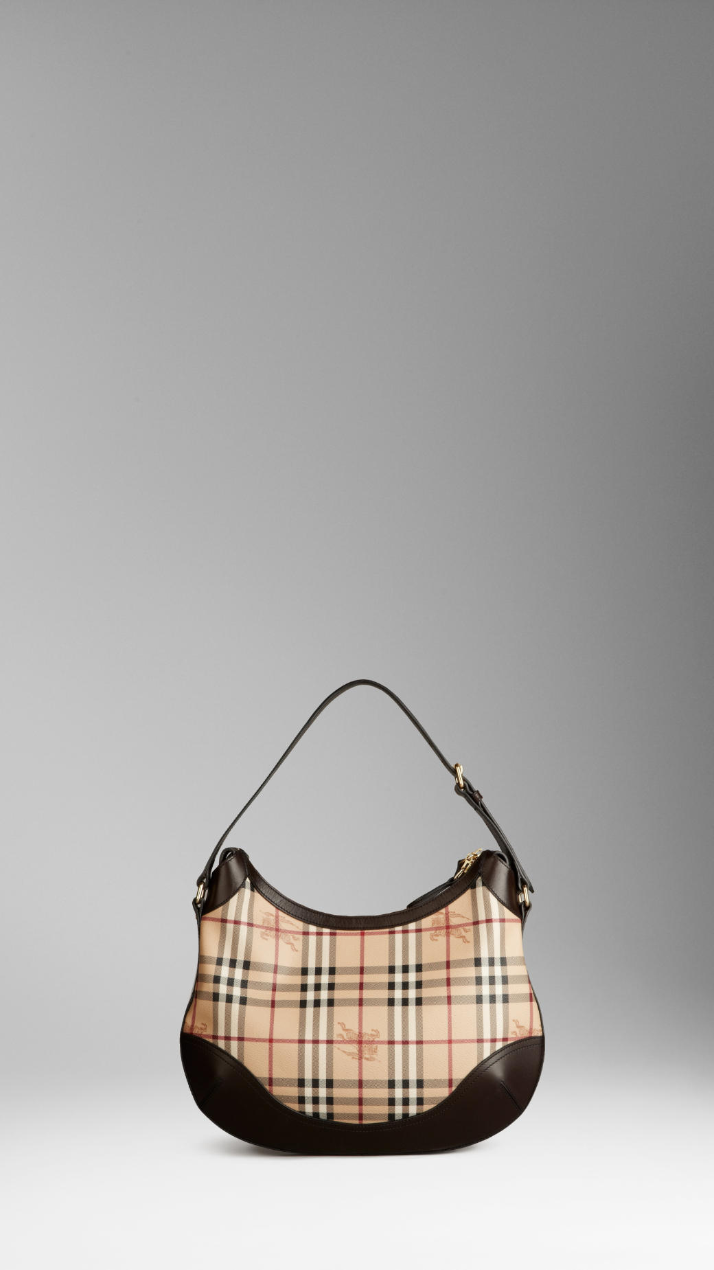 07e6a0d839c7 Burberry Medium Haymarket Check Hobo Bag in Natural - Lyst