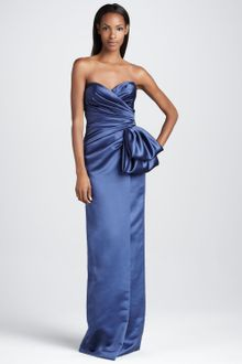 David Meister Signature Strapless Gown with Oversize Bow - Lyst