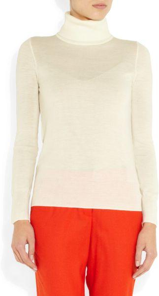 J Crew Fine Knit Merino Wool Turtleneck Sweater In White