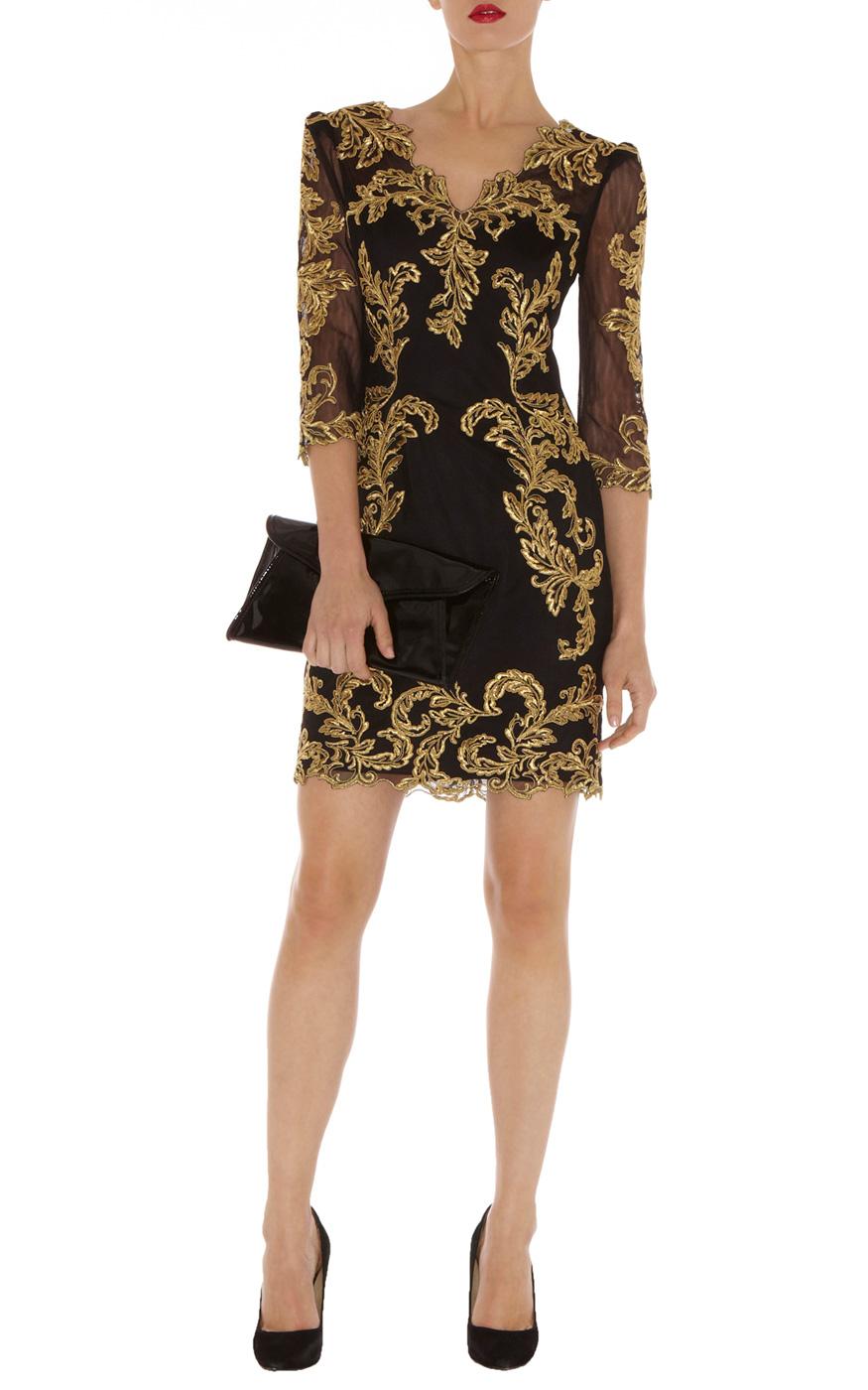 Karen millen baroque mesh dress in black lyst for Baroque design clothes