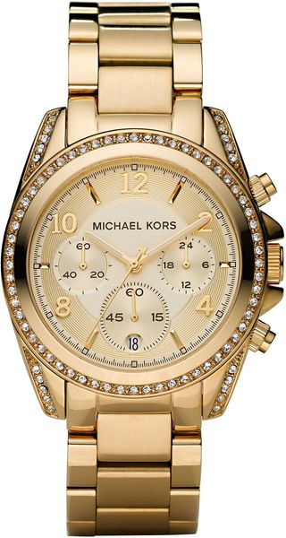 Michael Kors Golden Runway Watch with Glitz - Lyst