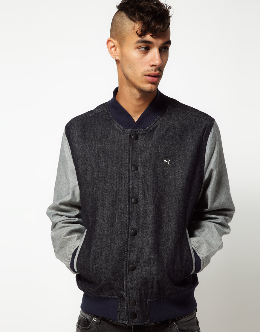 Puma Denim Varsity Jacket In Black For Men Lyst