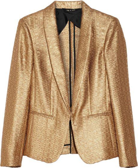 Rag & Bone Metallic Brocade Tuxedo Jacket in Gold