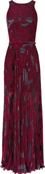 Reiss Pleated Print Maxi Dress in Purple (raspberry)